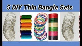 5 DIY colourful thin bangle sets making at home