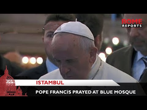 Pope Francis prays at the Blue Mosque in Istanbul