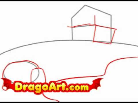How to draw a farm step by step youtube for How to draw a farmhouse