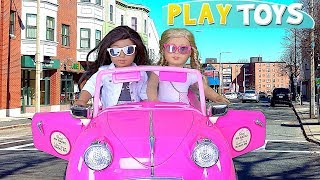 Our Generation Doll Pink Car Cleaning Toys! Puppenwagen Carro boneca muñecas