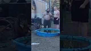 Stupid people jump in pool
