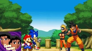 Goku & Naruto vs Sonic & Mario [Anime VS Video Games]