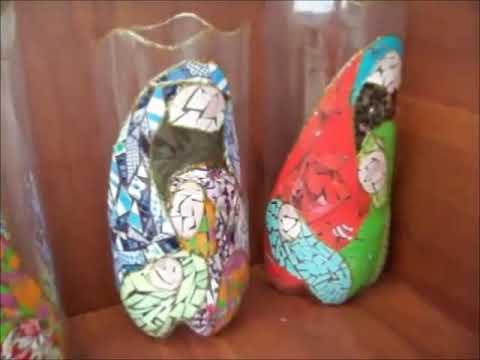 Faroles navideños con material reciclable