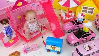 Baby doll tent house and Hello Kitty car toys picnic play 아기인형 콩순이 텐트 하우스와 헬로키티 자동차 장난감 피크닉 놀이 - 토이몽