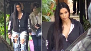 Kim Kardashian Rocks Distressed Denim At Lunch After Her Distressing Year