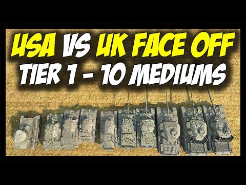 ► World of Tanks: USA vs British (UK) Medium Tanks - Tier 1 to Tier 10 - Face Off #11