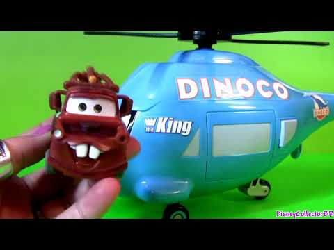 Pixar Cars Talking Dinoco Helicopter Transporter Mater Disney Rotor Turbosky The King cartoys review