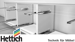 Quadro runners for wooden drawers, made by Hettich