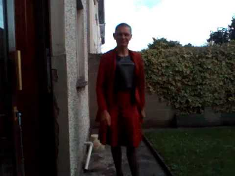 Satin Tranny In Red Outside. video