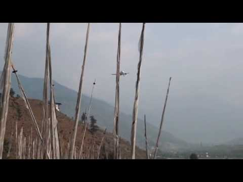 Real Paro Bhutan landing runway 15 from hill at end A319