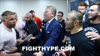 """(HEATED!) BILLY JOE SAUNDERS ERUPTS, RESTRAINED, & TRADES WORDS WITH """"DANNY DEVITO"""" KHURTSIDZE"""