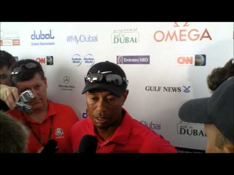 Tiger Woods after the his final round at the 25th Omega Dubai Desert Classic 2014