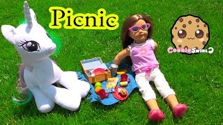Outside Picnic with American Girl Doll + My Little Pony Princess Celestia - Cookieswirlc