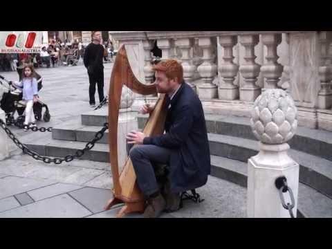 ★ David (Australia). Celtic Harp. Vienna Street Performers by RussianAustria (Full HD)
