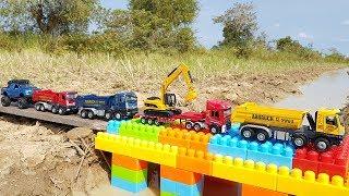 Build Bridge Blocks Toys For Children | Construction Vehicles For Kids | Vic Vic