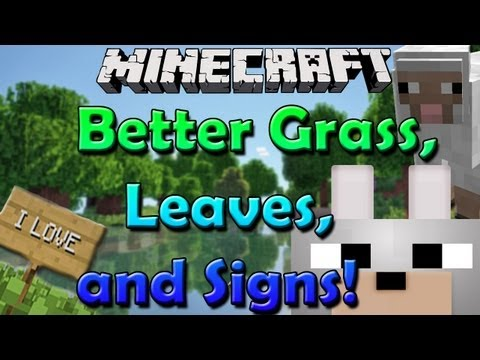 Minecraft Mods - Better Grass. Leaves. and Signs! 1.6.2 Review and Tutorial (THE SHEEP STORY!)