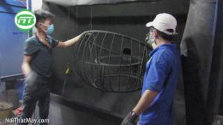 Sơn tĩnh điện bàn ghế nhựa giả mây tại xưởng Nội Thất Minh Thy