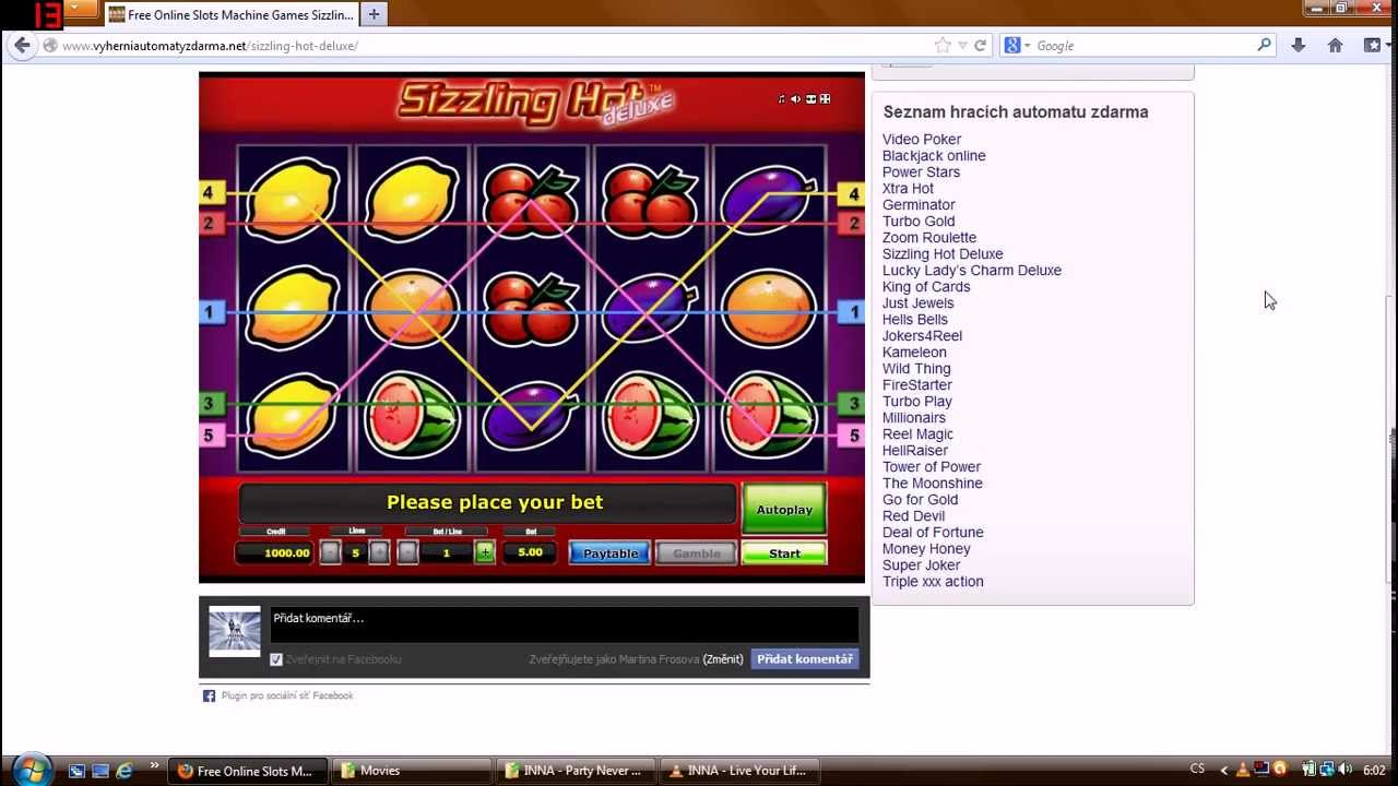 slot machine games online sizzling hot play
