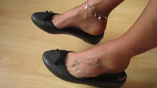 black sabrinas, nylons, tattoos and anklet, shoeplay and dangling