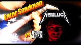 ENTER SANDMAN GUITAR COVER VS GUITAR HERO (LIP SYNC ALSO) (4K 60FPS)