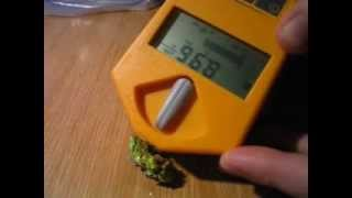 measuring radioactivity of mineral (autunite) with dosimeter