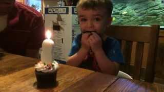 فيديو طريف: طفل يواجه صعوبة بإطفاء شمعة ميلاده