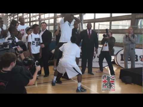 LeBron James Takes Kid 1 on 1 and Dunks on Him in London, England