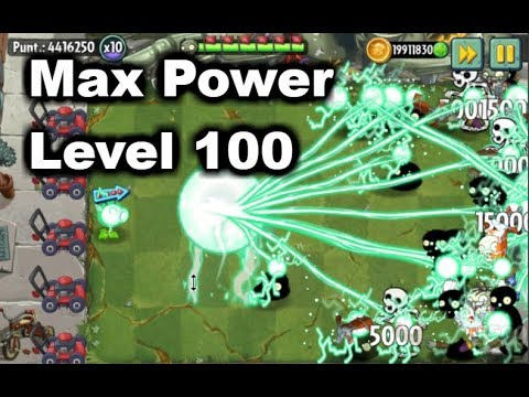 Plants vs Zombies 2 - Electric Peashooter Max Power Level 100