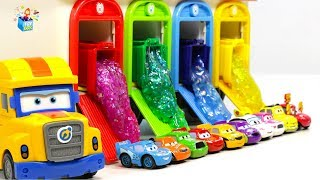 Learning Color Cars Lightning McQueen Nursery Rhyme papa truck slime Play for kids car toys