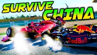 SURVIVE CHINA! 20 DNFS IN ONE ATTEMPT?! - F1 Game Extreme Damage Keyboard Challenge