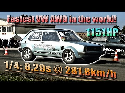 NEW VW AWD WORLD RECORD! 16Vampir Golf Mk1 AWD 1151HP 8,29s @ 281km/h