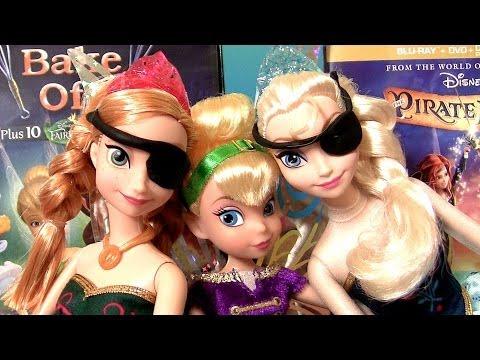 Tinker Bell with Pirate Elsa & Pirate Anna Play Doh Disney Frozen Dolls + Fairy Tinkerbell DVD