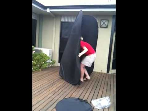 Pop Up Spray Tanning Tent Fold down demonstration