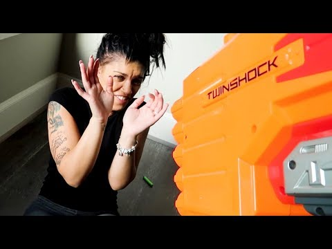 """""""EXTREME NERF WAR PRANK"""" ON WIFE!! (SHE CRIED)"""