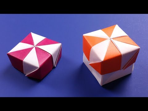 Origami Pinwheel Box with Lid - DIY Candy Cane Paper Box Easy Tutorial