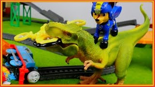 Thomas and friends Paw Patrol rescue Thomas before Dinosaur T-REX - Thomas Train video for children