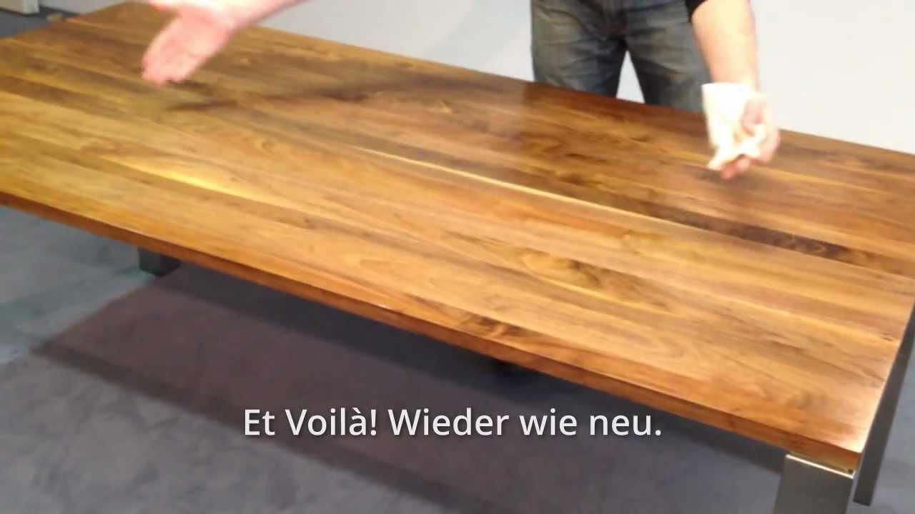 holzpflege massivholztisch make it self youtube. Black Bedroom Furniture Sets. Home Design Ideas