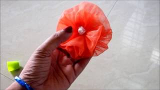 HOW TO MAKE DECORATIVE FABRIC FLOWER / TULLE FLOWER- EASY WAY- DIY || AWW # 269 ||