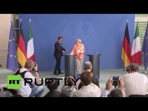 Germany: Merkel and Italian PM Renzi discuss Greece in Berlin