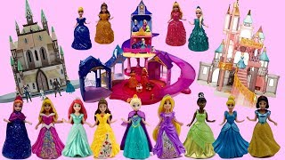 MagiClip Princess Dress Mix Up with 3 Different Castles - Belle Ariel Tiana Cinderella Elsa Aurora