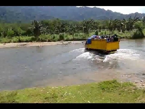 River Crossing with Jeep and Truck in Meru Betiri National Park (PKL Raya Geografi UNJ 2013)