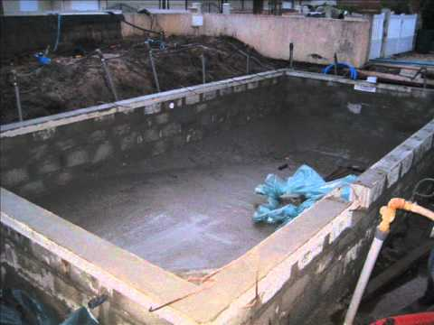 Construction youtube for Piscine en parpaing