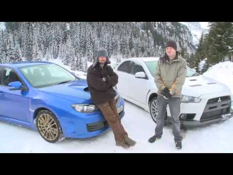 Impreza STi v Evo X... on ice! - by Autocar.co.uk