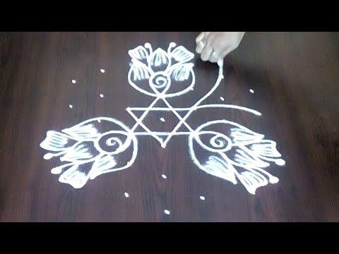Lotus Flowers And Flower Kolam Design With 7 x 4  || Simple Festival Rangoli Design || Fashion World