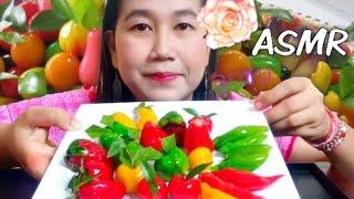 #ASMR Thai Delicate DESSERT  Lukchup เสียงกินขนมลูกชุบ (SOFT EATING SOUNDS)