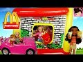 Mc Donald's Drive Thru Inflatable Playland with Frozen Toddler Elsa, Barbie & Moana - Titi Toys