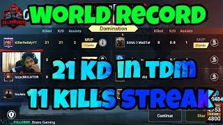 TDM 21 KD in a match WORLD RECORD? ll PUBG MOBILE ll ROYAL PASS GIVEAWAY
