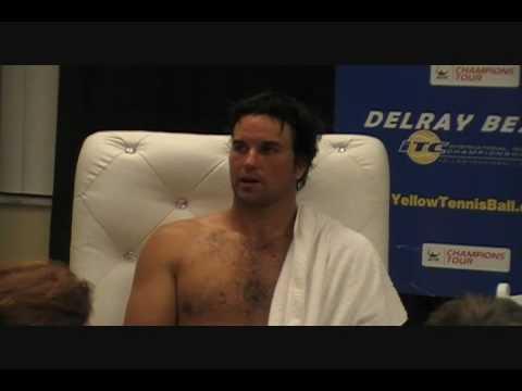 John McEnroe, Patrick Rafter press conference (1 of 2) following incredible tennis match