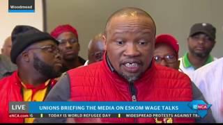 Labour unions briefing the media on Eskom wage talks