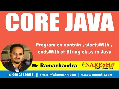 Core Java Tutorials   Program on contain  , startsWith , endsWith of String class in Java